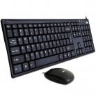 得力deli 3711 静音超薄有线键盘鼠标套装 USB