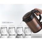 得力deli 85607 1.7L食品级双层不锈钢电热水壶(咖啡色)